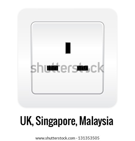 Realistick socket illustration isolated on white. UK, Singapore, Malaysia type.
