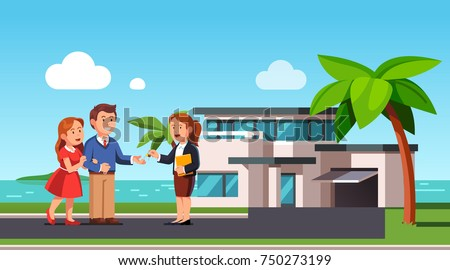 Realtor passing keys to modern contemporary ocean shore mansion house to new owners. Millionaire couple buying seashore real estate. Husband and wife renting seaside house. Flat vector illustration.