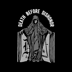 Reaper and book with the words death before dishonor. Design for printing on t-shirts, stickers and more. Vector.