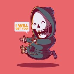 Reaper running vector illustration. Skeleton, reaper, death, comics, cartoon, cute design concept