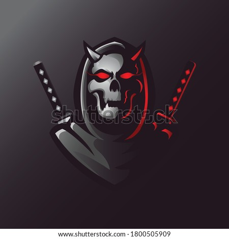 Reaper samurai skull mascot gaming logo design vector with modern illustration concept style for badge, emblem and t shirt printing. Angry reaper samurai skull illustration for sport and e-sport team