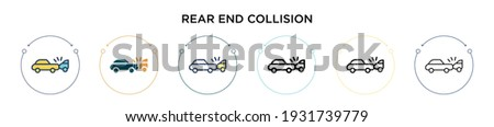Rear end collision icon in filled, thin line, outline and stroke style. Vector illustration of two colored and black rear end collision vector icons designs can be used for mobile, ui, web Stock photo ©