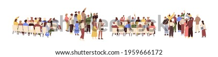 Rear view of academic auditorium, fan audience, people s crowd. Set of spectator's backs. Backside of characters sitting and standing. Colored flat graphic vector illustration isolated on white