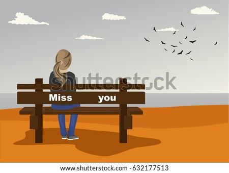 Rear view of young woman sitting on bench on seashore with miss you text on it in autumn