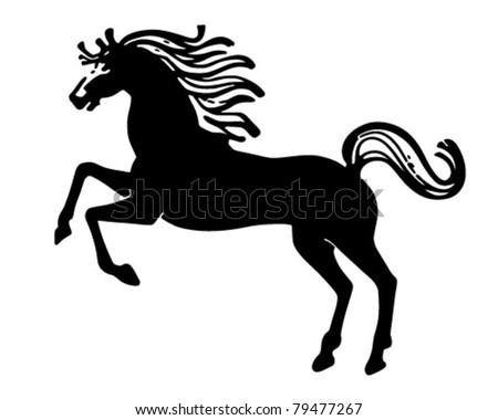 Rearing Horse - Retro Clipart Illustration
