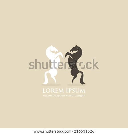 rearing horses icon   vector