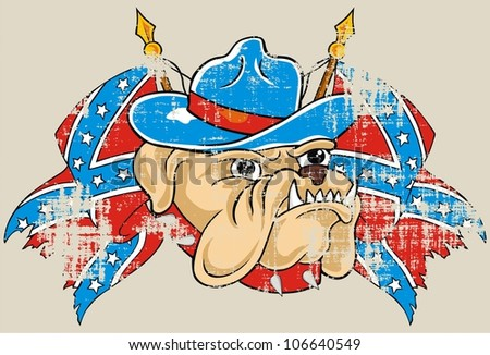 rebel flag and bulldog