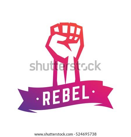 Rebel, revolt symbol, fist held high in protest, raised hand isolated over white, vector illustration