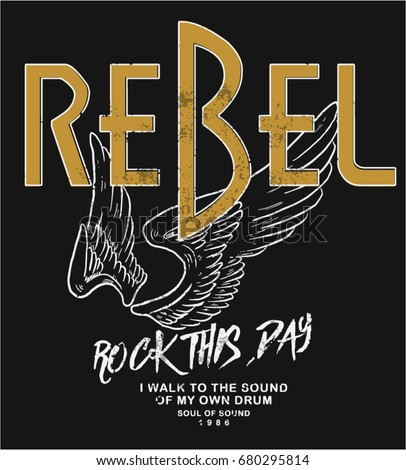 rebel rock illustration with wings