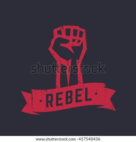 Shutterstock Rebel, t-shirt design, print, red on dark, fist held high in protest, vector illustration