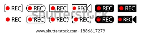 Rec icons. of record buttons. video  recording Sign. Red and black symbol for start of recording audio or video on camera. Logo for livestream on computer or radio. Web player technology. Vector. Photo stock ©
