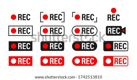 Rec. Set recording sign. Currently recording. Vector stock illustration. Photo stock ©