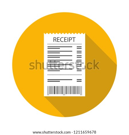 Receipt icon. Supermarket paper receipt. Vector illustration.