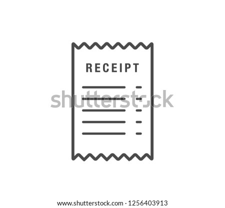Receipt icon. vector paper receipt.