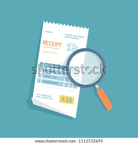 Receipt icon with magnifying glass. Studying paying bill. Payment of goods,service, utility, bank, restaurant. Invoice, check, bill sign. Paper financial symbol in flat style. Vector isolated.