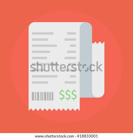 Receipt vector icon in a flat style  isolated on a colored background. Concept paper receipts icons.