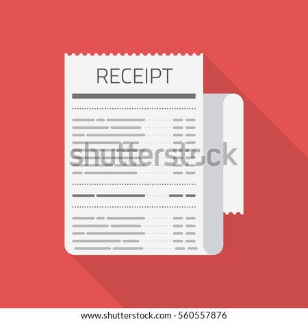 Receipt vector icon in modern flat style isolated on red background. Invoice sign. Bill atm template or restaurant paper financial check. Concept Paper receipts icons.