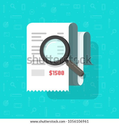 Receipt with magnifying glass vector illustration, flat cartoon tax bill document analysis, concept of expenses cost research, financial check, budget accounting report, paper invoice analyze