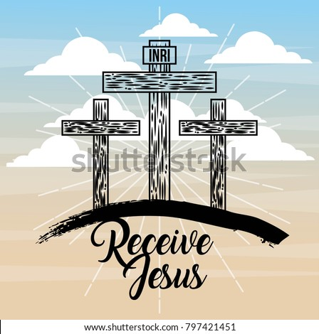 receive jesus three cross sky