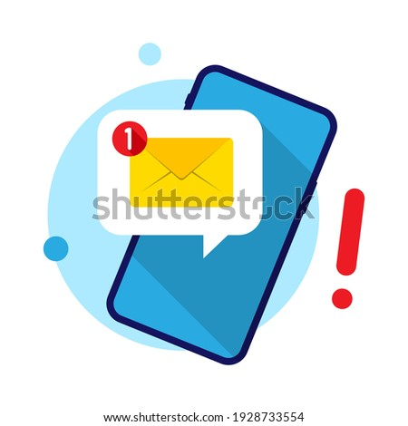 receive message notifications on a mobile phone. mobile application, e-mail marketing, incoming newsletter, new email notification concept modern flat design icon vector illustration 商業照片 ©