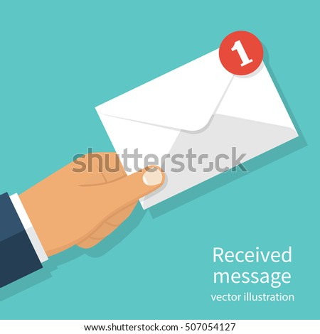 Received message concept. New, email incoming message, sms. Mail delivery service. Envelope in hand. receive mail. Vector illustration flat design. Isolated on background.