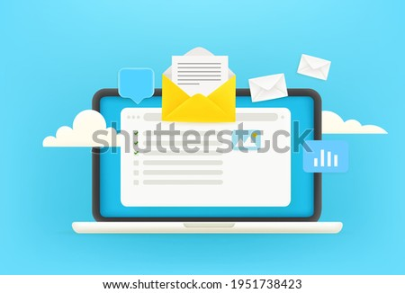 Receiving electronic mail via internet concept. 3d style cute vector illustration