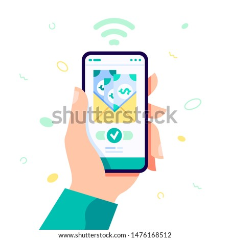 Receiving money low cost free concept. Online money transfer illustration. Vector flat illustration with hand holding smartphone. Online money, mobile payments for web page, banner and social media.