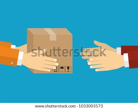 Receiving package from courier to customer. Delivery concept. Flat design style Stock photo ©