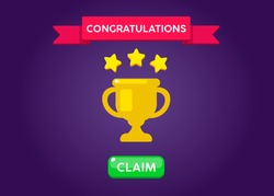 Receiving the cartoon achievement game screen. Vector illustration with golden stars and Cup. Graphical user interface GUI to build 2D games. Casual Game. Can be used in mobile or web game. Isolated.