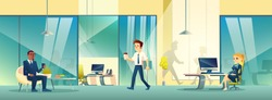 Reception area in business office. Modern room interior with girl receptionist character, employee going for coffee break and customer waiting on armchair with smartphone. Cartoon vector illustration.