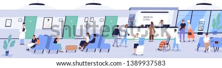 Reception area of medical center or hospital with people or patients waiting for doctor's appointment. Men, women and children at physician's office or clinic. Flat cartoon vector illustration.