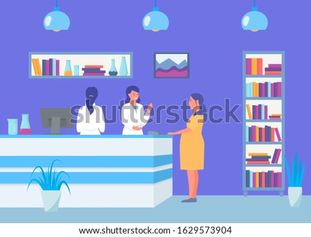 Reception in antenatal maternity clinic, pregnant girl vector illustration. Women patient visiting doctor for medical consultation and administrators. Treatment and healthcare. Stock photo ©