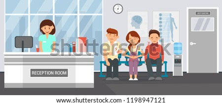 Reception Room at Clinic. Patients in Doctors waiting Room in Hospital, office Interior Clinic. Consultation and Medical Diagnosis for Sick. Medicine Concept. Vector Flat Illustration.