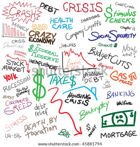 Recession economy and finance related doodles isolated over white.