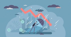 Recession financial storm concept, tiny business person vector illustration. World economy recession and global market collapse risk. Business bankruptcy loss challenges and stock market crash arrow.