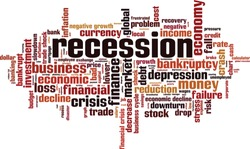 Recession word cloud concept. Collage made of words about recession. Vector illustration