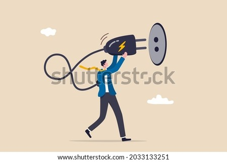 Recharge yourself, refresh or recover after tried, exhausted or burn out, charge full energy or supply motivation concept, exhausted overworked businessman plug electric to recharge energy. Foto stock ©