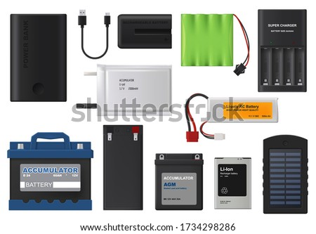 Rechargeable batteries. Isolated vector lithium and solar accumulator batteries, charger and power bank. Car accumulator, alkaline cylinder, energy power and electrical supplies