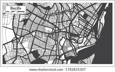 Recife Brazil City Map in Black and White Color in Retro Style. Outline Map. Vector Illustration. Foto stock ©