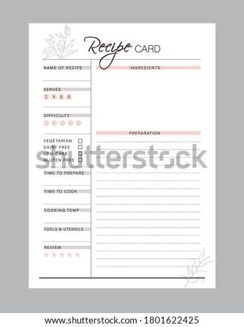 Recipe card and Meal Planner printable template Vector. Meal planning and groceries list. Easily plan out of your weekly meals for breakfast, lunch, dinner and snacks.