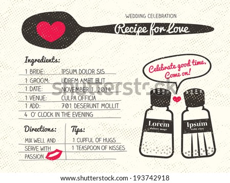Recipe card creative Wedding Invitation design with salt and pepper shaker cooking concept