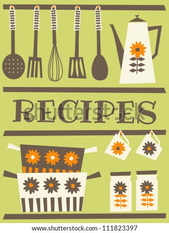 Recipe card design in retro style.