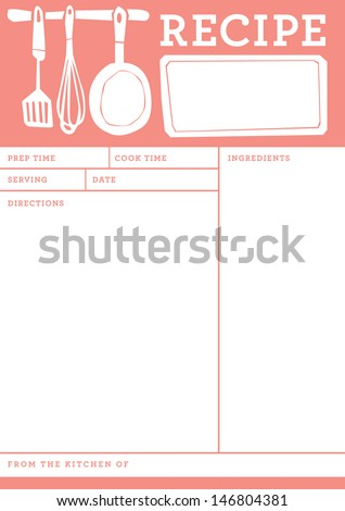 retro recipe card template .