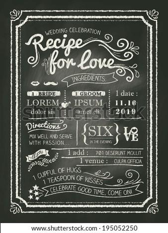 recipe chalkboard wedding