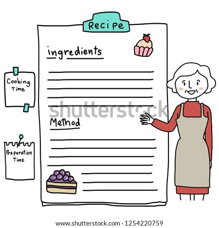 Recipe sheet with stripe lined paper for adding your own recipe held with a bulldog clip. Cute doodled illustration of woman in apron pointing to recipe with cakes decorated on the top and the bottom.