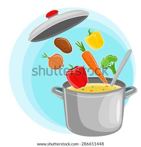 Recipe vegetarian vegetable soup illustration. Useful soup vegetables. The composition of vegetable soup. The ingredients of vegetable soup. Vegetable soup illustration. White background