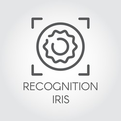 Recognition iris biometric scan icon. Identity scanning retina line logo. Verification modern system. Authentication technology in mobile phones, smartphones and other devices. Vector outline label