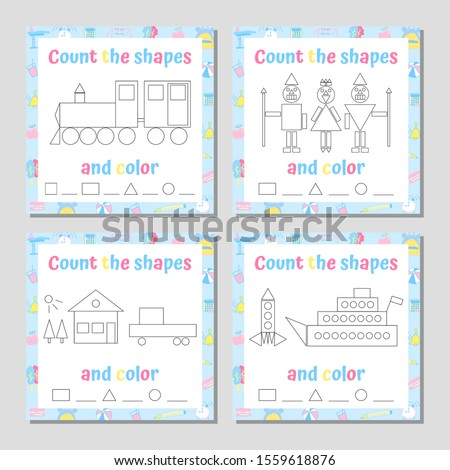Recognize and count geometric shapes math game set. Addition Mathematical Puzzle. Coloring Page. Vector Illustration.