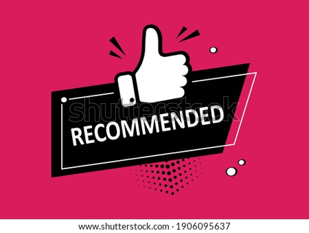 Recommend icon, best seller stamp. Recommended comic sale banner with thumb up. Vector illustration Foto stock ©