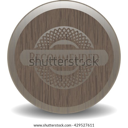 Recommended badge with wood background